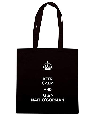 Speed Shirt Borsa Shopper Nera TKC0522 KEEP CALM AND SLAP NAIT O'GORMAN