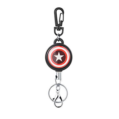 (HASFINE Retractable Keychain Badge Holder Carabiner, Cute Retractable Badge Reel Clip with Key Chain Stainless Hook,Captain America)