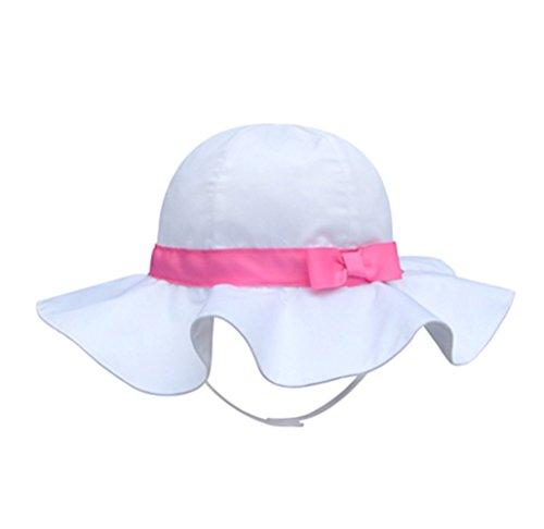 SNW Kid Baby Summer Hat Baby Sun Hat Hip Hop Hat Baseball Cap,White-Pink,3-6 months