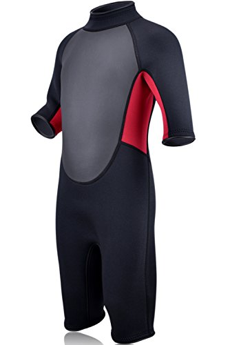 REALON Wetsuits for Children Premium Neoprene 3mm Youth's/Kids Shorty Surfing Suit Swimming Suit Rash Guard Xspan Wetsuit Back Zip Spring (M)