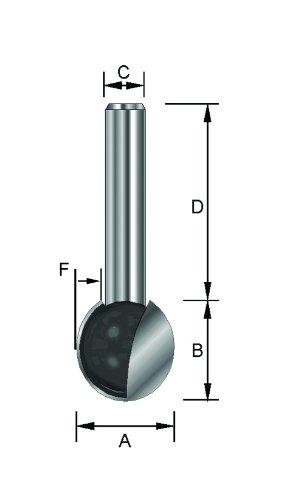 HM 8 mm 15,9 mm ENT 17064 Kugelfr/äser HW D 32 mm Durchmesser A B 14,8 mm C F 7,95 mm Schaft