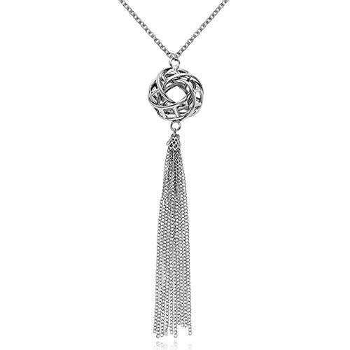 Hanloud Statement Long Tassel Pendant Necklace Boho Silver Knot Circle Pendant Chain Tassel Dangle Necklace Long Sweater Y Necklace for Women