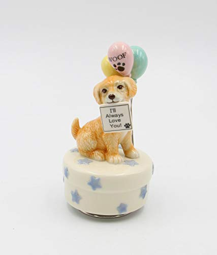 Cosmos Gifts Fine Porcelain Golden Retriever Puppy Dog with Balloons and I Will Always Love You Sign, (Music Tune: How Much is That Doggie in The Window) 5-3/8