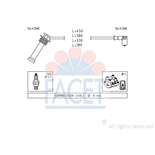 Facet 4.9624 Ignition Leads Kit: