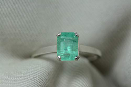CHIPPED 1.33 Carat Emerald Ring, Colombian Emerald Solitaire, Sterling Silver, Genuine Real Natural Emerald Cut May Birthstone Jewelry er5 ()