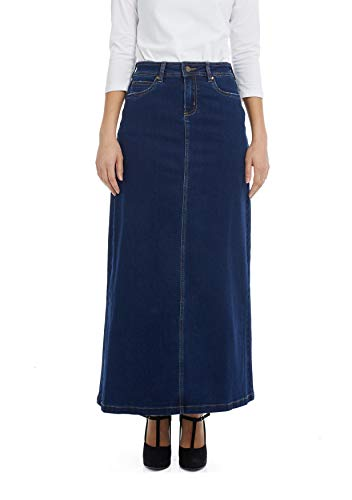 - Esteez Women's Denim Maxi Skirt- A-Line Stretch Jean Georgia Blue 8