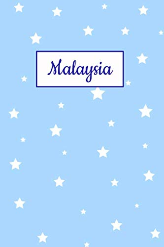 Malaysia: Personalized Name Journal. Wide Ruled (Lined) Writing Diary, Composition Book. Baby Blue Star Cover for Girls, Kids and ()