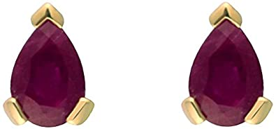 Ivy Gems 9ct Yellow Gold Ruby Tear Drop Stud Earrings gCKeB5