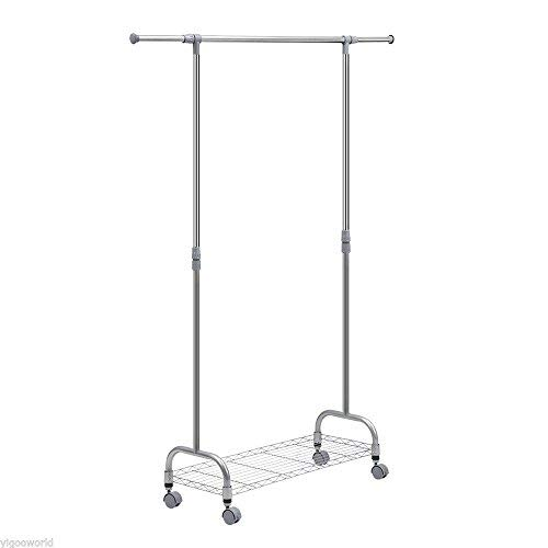 Space Paths Clothes Garment Rack Wheels,Adjustable Extendabl