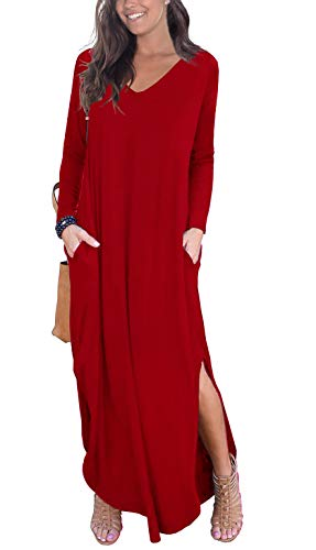 GRECERELLE Women's Casual Loose Pocket Long Dress Long Sleeve Split Maxi Dresses Red 2XL