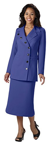 Wear Abouts Womens 2 Piece Button Detail Skirt Suit (24W, Royal)