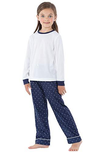 PajamaGram Big Girls' PJs Polka Dots - Long Sleeve Kids Pajamas, Navy, ()