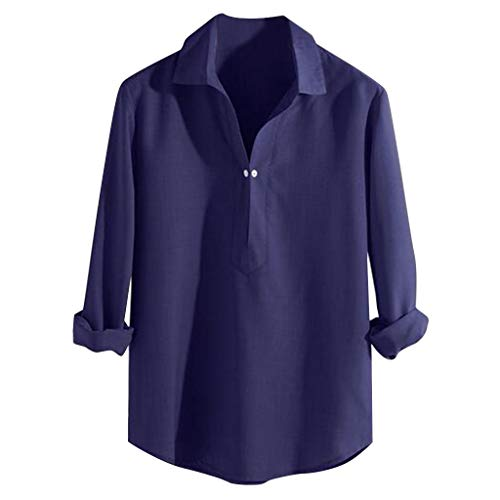 Mens Loose Fit Henley Shirt QueenMMCasual Linen Long Sleeve Solid Color Comfy Shirts Hippi Shirts Yoga Top Blouse Dark Blue