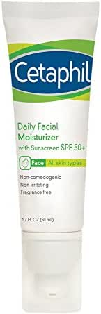 Cetaphil Daily Facial Moisturizer with Sunscreen, SPF 50+, 1.7 fl. oz. (Pack of 2)