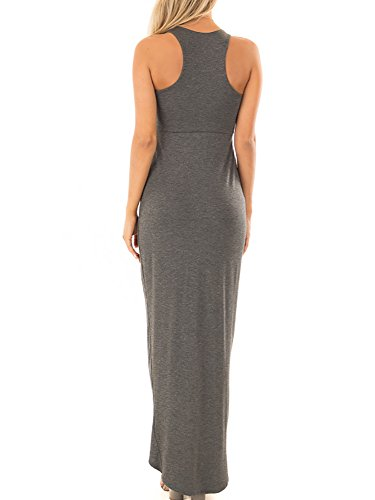 Solid 1 Dresses Halter Maxi dark Neck Long Plain Slit Loose Womens Sleeveless Grey Casual Ferbia Dresses XTpcOnqwW