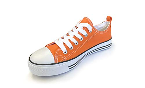 Emma Shoes - Women's Sneakers Casual Canvas Shoes, Low Top Lace up Cap Toe Flats for Girls (10, Orange)