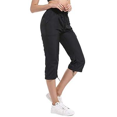 JTANIB Women's Cargo Woven Capri Pants, Drawstring Waist Active Cropped Pants with Pockets