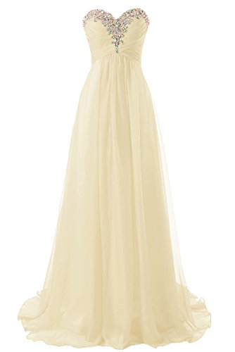 (JAEDEN Prom Dress Bridesmaid Dresses Long Chiffon Formal Evening Gown A line Champagne US18W)