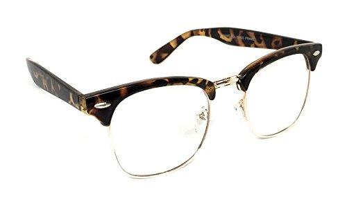 WebDeals - Vintage Classic Half Frame Horn Rimmed Browline Design Sunglasses (Tortoise, Gold / - Tortoise Reviews Club