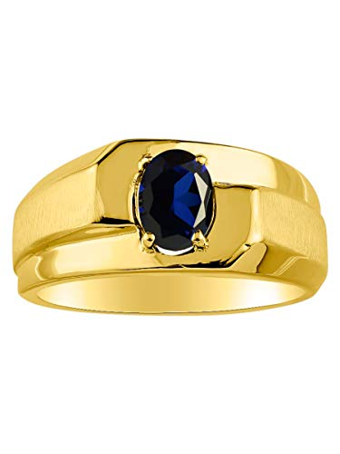 (Mens Classic Oval Sapphire Ring Set in Yellow Gold Plated Silver .925 September Birthstone)
