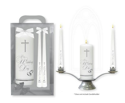 - DIRECT FROM LOURDES Catholic Wedding Candles with Silver Crosses and Bands, Wedding decorations, Table Centerpiece, Lourdes Prayer Card