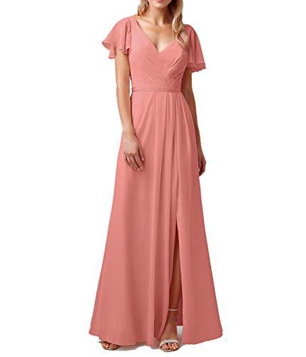 - liangjinsmkj Cap Sleeve Chiffon Ruffled Bridesmaid Dresses V Neck Prom Party Evening Gowns Coral US18W
