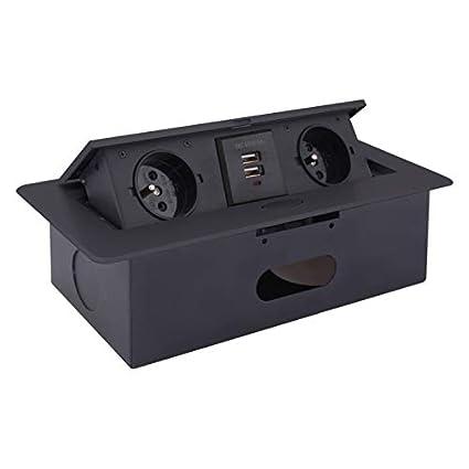 Caja de enchufe empotrable 2 x Schuko + 2 x USB 5 V – Negro –