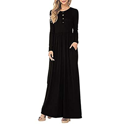PASATO Women Solid Button Round Neck Plus Size Dress Long Sleeve Pocket Casual Beach Long Maxi Wrinkle Dress