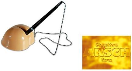 """Stifthalter Hintern mit Kugelschreiber Furzgeräusch Stift Halter & Postkarte""""Die goldene Arschkarte"""" - Set ~"""