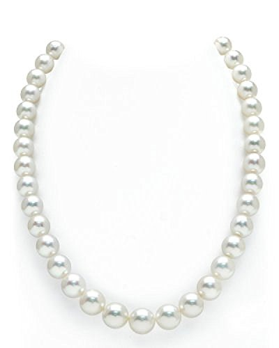 14K Gold 9-11mm Australian White South Sea Cultured Pearl Necklace - AAAA (White Australian South Sea Pearl)