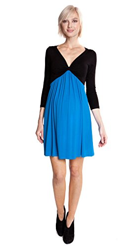 Olian Maternity Dresses - Olian Maternity Women's Colorblock Empire Waist Dress Small Black Blue