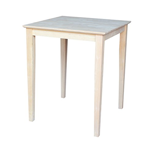 International Concepts Square Counter Height Solid Wood Top Table with Shaker Legs, 30-Inch