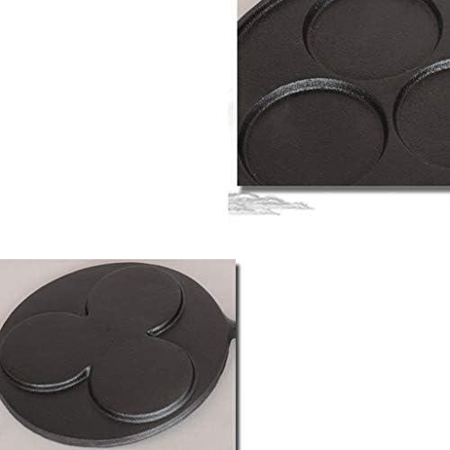 CJTMY Noir Pan - Fonte antiadhésif Poêle, Non couché à Trois Trous à Fond Plat Design Egg Fryer