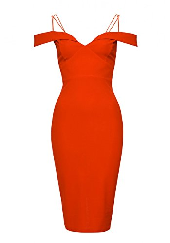 Shoulder AX Women's Off The Dress Bodycon Red Paris wxIHqPpvS