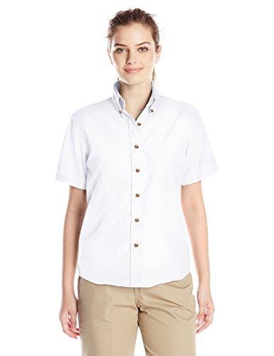 (Red Kap Women's Plus Size Short Sleeve Poplin Dress Shirt, White, 24)