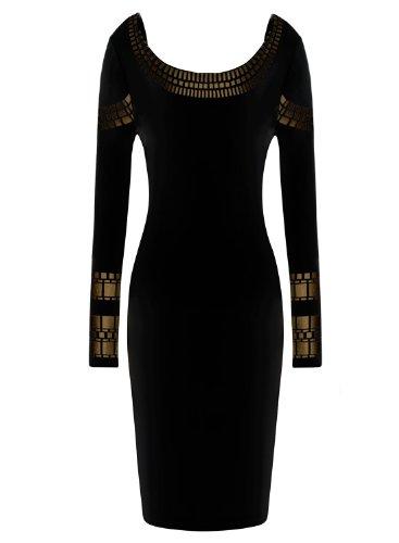 Miusol Women's Sexy Kim Egypt Gold Foil Print Cocktail Pencil Dress