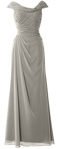 MACloth Women Cap Sleeves Boat Neck Formal Gown Long Mother of the Bride Dress Plateado