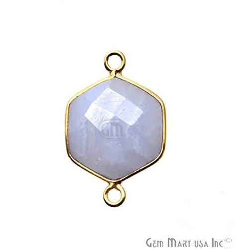Blue Lace Agate Bezel Connector, 13x19mm, Hexagon Shape, 24k Gold Plated Double Bail Pendant ()