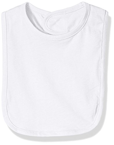 (Clementine Baby Jersey Bib with Contrasting Binding, White, OS)