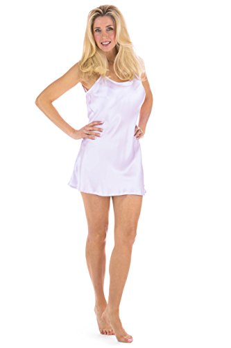 Lavender Mulberry - Fishers Finery Women's 100% Pure Mulberry Silk Chemise; Nightgown (Lavender, M)
