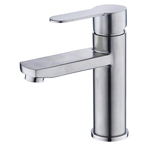 redOOY Bathroom Sink Taps Taps Faucet Basin Faucet Basin Faucet 304 Stainless Steel Square Basin Hot and Cold Single Hole Room Basin Faucet