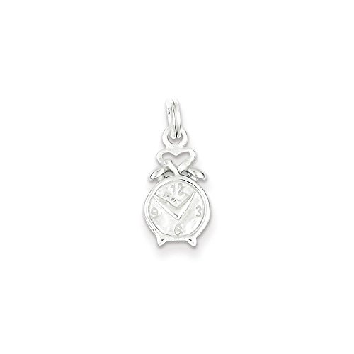 (Sterling Silver Polished Clock Charm Pendant (0.79 in x 0.39 in))