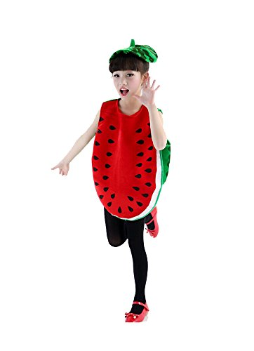 Watermelon Girl Costume (Fairyye Fruits and Veggies Collection Watermelon Costume for Kids fit for 110-140cm (watermelon))