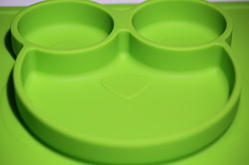 Silicone Placemats for Babies, Toddlers and Kids | Non Slip Silicone Feeding Food Tray/Placemat and Plate | Waterproof | BPA Free | Fits with common Tables & Highchair | Best Baby Shower Gift Green by Pikababy (Image #1)