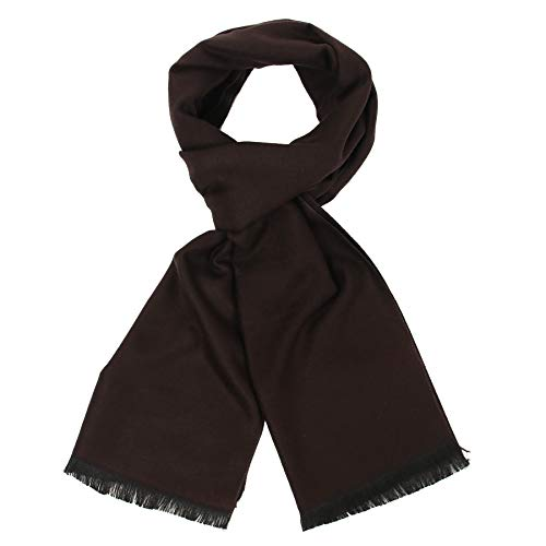 Long Cotton Scarf for Men - Warm Fringe Plaid Scarves With Luxurious Gift Box(Brown)
