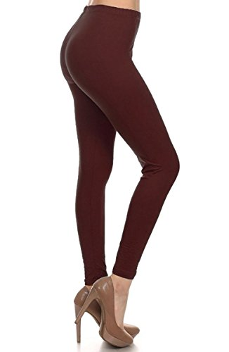 Leggings Depot Ultra Soft Basic Solid Plain REGULAR and PLUS Best Seller Leggings Pants -NEW COLORS AVAILABLE!!- Carry 1000+ Print Designs (3X-5X, Brown)