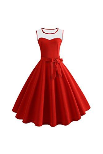 Yacun Les Femmes Cocktail Robe sans Manches Patch Dcollet Robes 1950 Rouge1