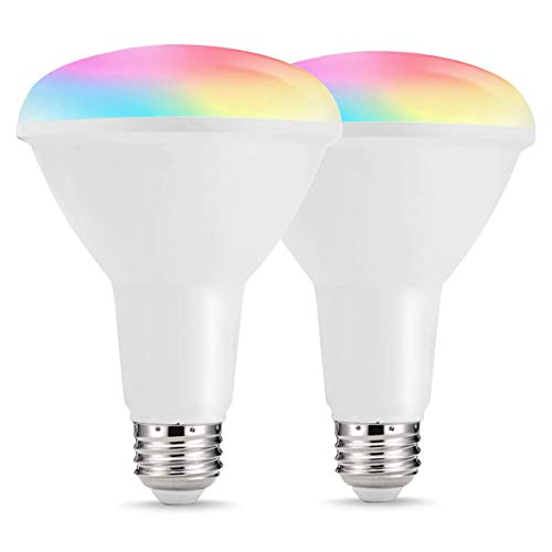 LOHAS Smart Light Bulbs, BR30 WiFi Bulb, LED Dimmable Flood Lights, 75W-80W Equivalent Daylight RGB Color Changing E26 Spotlight, Alexa Google Home Compatible Lights, 1000LM for Home Lighting, 2 Pack