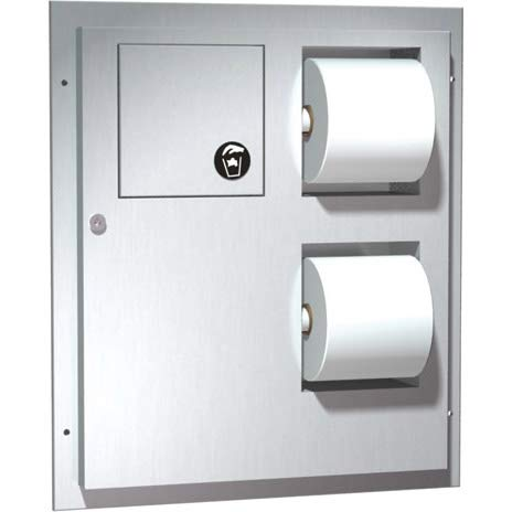 ASI 04813, Toilet Paper Dispenser/Napkin Disposal (Dual Access) Partition Mounted