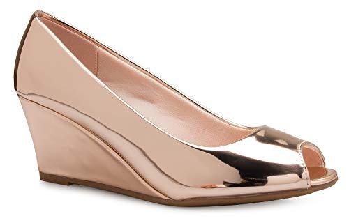 OLIVIA K Women's Adorable Low Peep Toe Wedge Heel Shoe - Comfortable, Adorable (Low Wedge Leather)